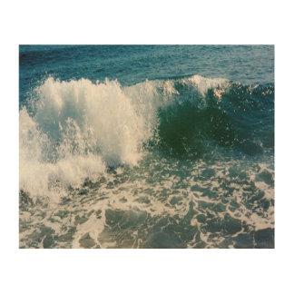 Fractura de la ola oceánica impresión en madera