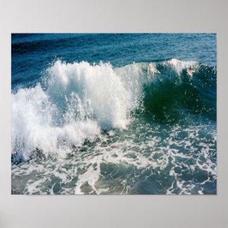 Fractura de la ola oceánica póster