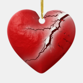 Fractura del corazón adorno de cerámica en forma de corazón