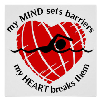 Fractura del poster del nadador de las barreras