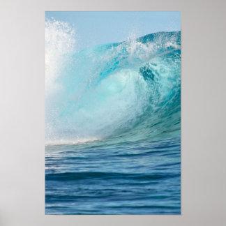 Fractura grande de la onda del Océano Pacífico Póster