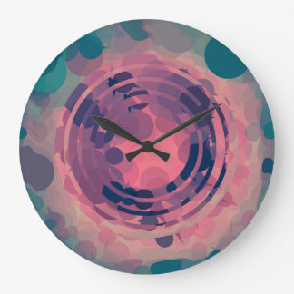 Fractured Circular Pink and Teal bubble Abstract Large Clock