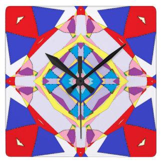 Fractured Fractal Tiles Square Wallclock