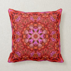 Fractured Fuschia Kaleidoscope Design  No 1 Throw Pillow