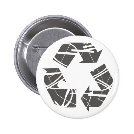 Fractured Gray Recycle Sign Buttons