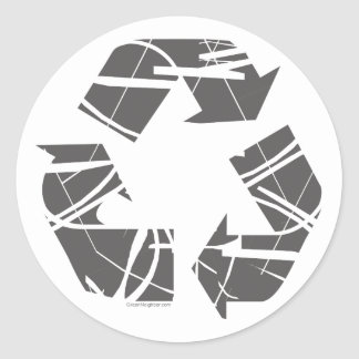 Fractured Gray Recycle Sign Classic Round Sticker