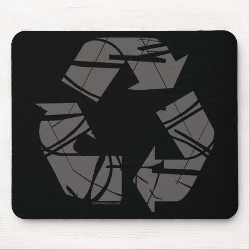 Fractured Gray Recycle Sign Mouse Pad