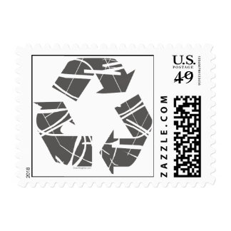 Fractured Gray Recycle Sign Postage Stamps