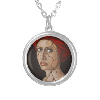 Fractured Identity Round Pendant Necklace
