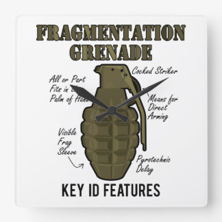 Frag Grenade ID Features Square Wall Clock
