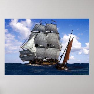 fragata con el pequeño barco de navegación impresiones