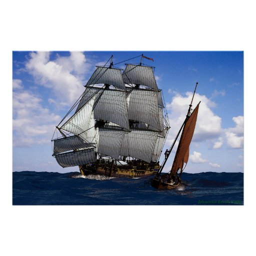 fragata con el pequeño barco de navegación póster