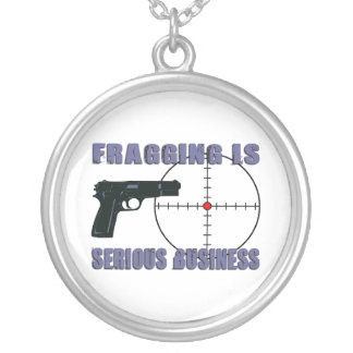 Fragging Is Serious Business Silver Plated Necklace