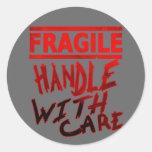 frágil dirija con cuidado pegatina redonda