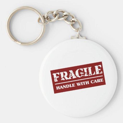 Frágil dirija con el artículo del cuidado llaveros personalizados