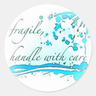 frágil dirija con el pegatina grande del cuidado