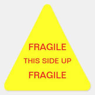 Frágil este lado para arriba pegatina triangular