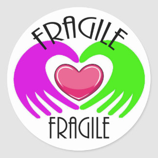 FRAGILE CLASSIC ROUND STICKER