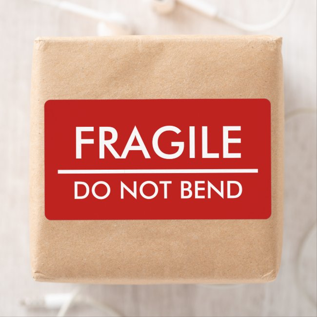 Fragile / Do Not Bend Red Bold Mailing Label