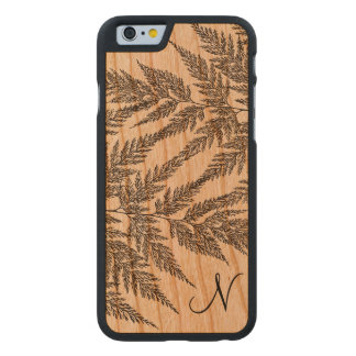 Fragile Fern Fronds Silhouette Monogram Carved® Cherry iPhone 6 Slim Case