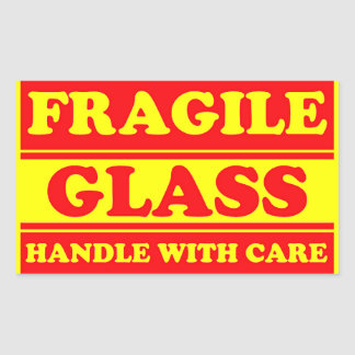 Fragile Glass Shipping Label Rectangle Sticker