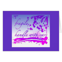 fragile greetings card - blue/purple