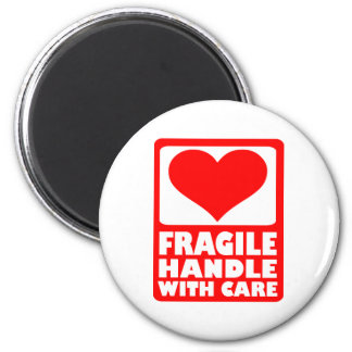 Fragile handle with care 2 inch round magnet
