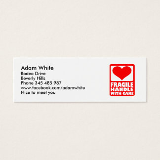 Fragile handle with care mini business card