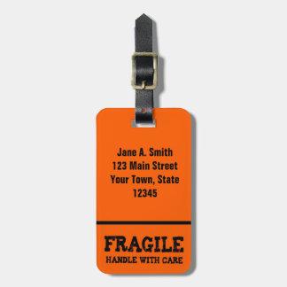 Fragile, Handle with Care, Orange Luggage Tag