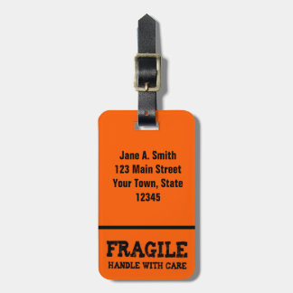 Fragile, Handle with Care, Orange Travel Bag Tags