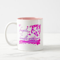 fragile handle with care pink mug