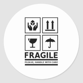 Fragile Handle with Care Round Stickers