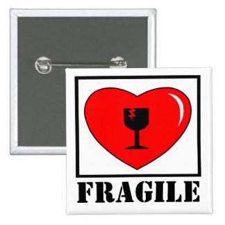 fragile heart 2 inch square button