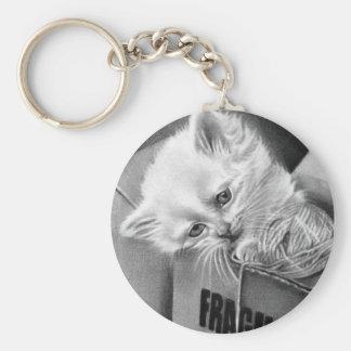 Fragile kitty box Keychain