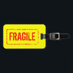 """Fragile luggage tag for bag and suitcases<br><div class=""""desc"""">Fragile luggage tag for bag and suitcases. Funny rubber stamp design.</div>"""