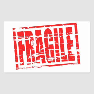 Fragile red rubber stamp effect rectangular sticker