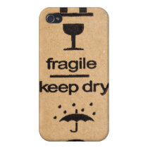 fragile sign 4 casing iPhone 4/4S cover
