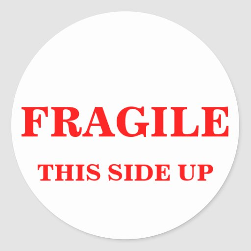 FRAGILE THIS SIDE UP shipping label Classic Round Sticker ...
