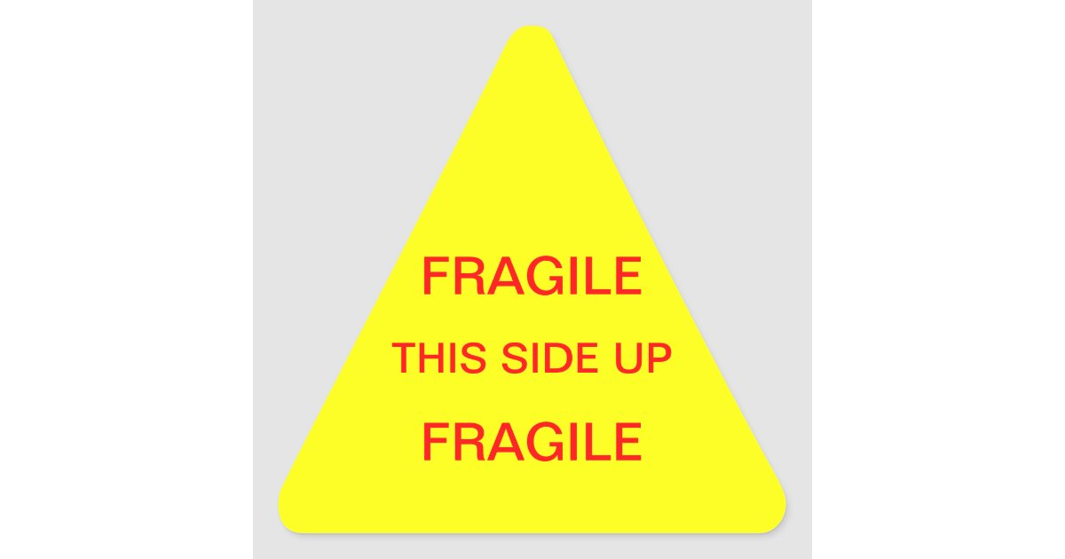 Fragile This Side Up Triangle Sticker | Zazzle
