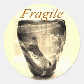 Fragile Tiger Classic Round Sticker