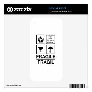 Fragile Warning sticker Skin For iPhone 4S