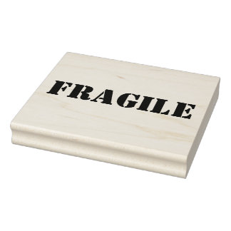 Fragile Wooden Block Mounted Rubber Stamp