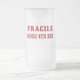 Fragility 16 Oz Frosted Glass Beer Mug