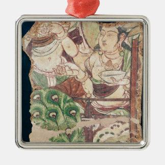 Fragment depicting a Buddhist paradise Metal Ornament