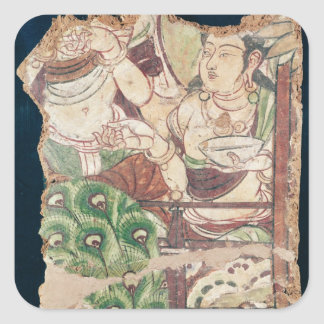 Fragment depicting a Buddhist paradise Square Sticker