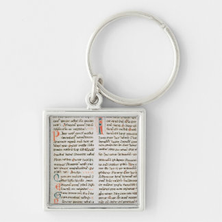 Fragment from a Cathar manuscript Silver-Colored Square Keychain