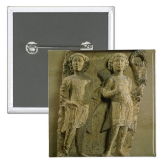 Fragment of a bas-relief plaque depicting two sold 2 inch square button
