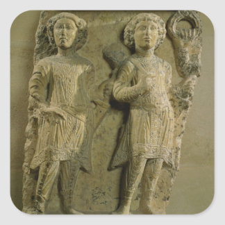Fragment of a bas-relief plaque depicting two sold square sticker