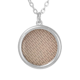 Fragment of a brick wall beige with diagonal image round pendant necklace
