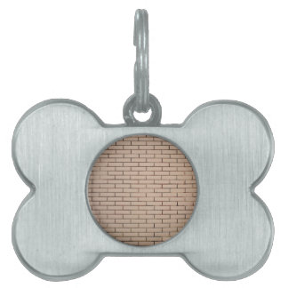 Fragment of a brick wall beige with neat rows of m pet ID tag